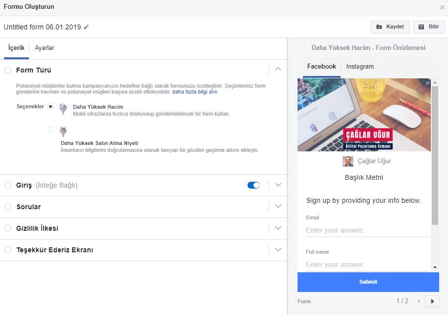 Facebook Hızlı Form Düzenleme