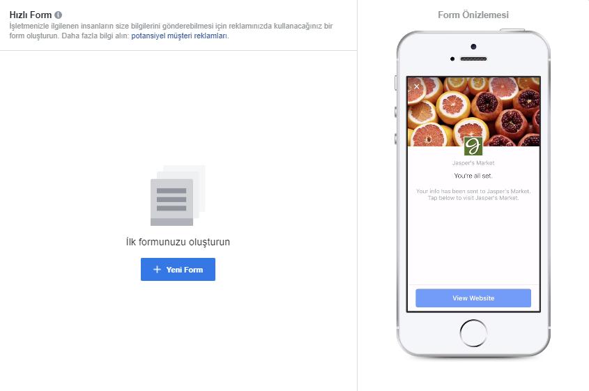 Facebook Hızlı Form Oluşturma