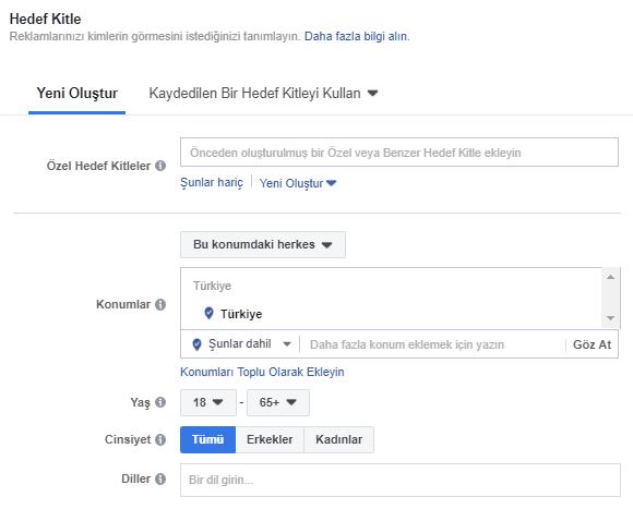 Facebook Hedef Kitle Seçimi