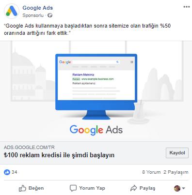 Facebook Reklamı - Google 100 TL reklam kredisi