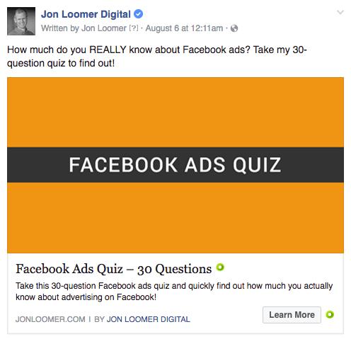 Facebook Reklamı - Jon Loomer Quiz