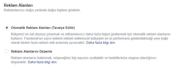 Facebook Reklam Alanları