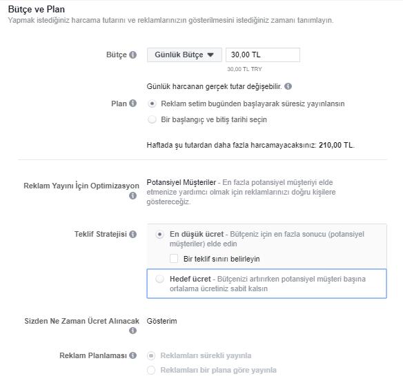 Facebook Reklam Bütçe ve Plan