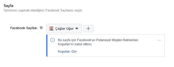 Facebook Reklam Seti - Sayfa Seçimi
