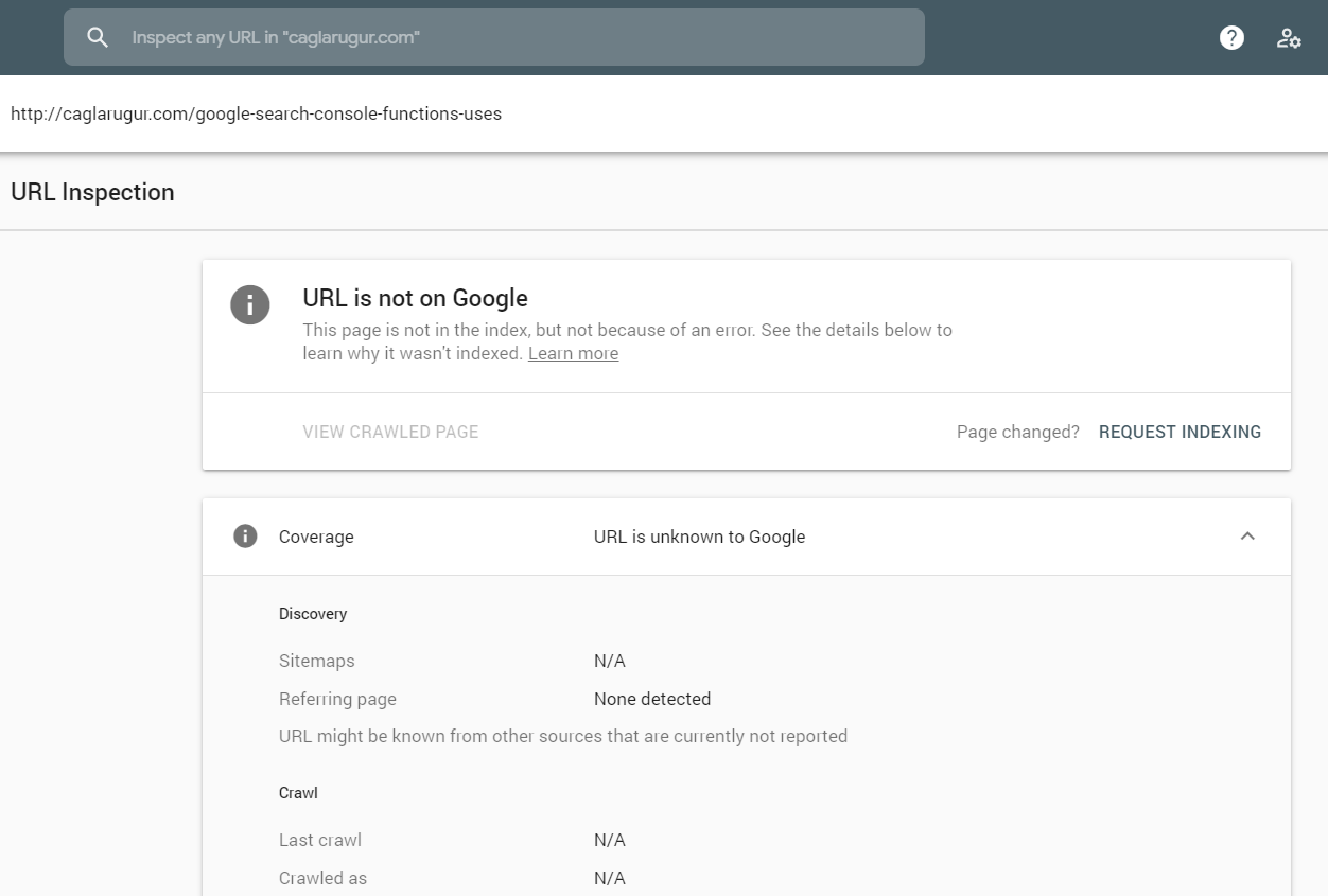 Google Search Console - Inspection URL