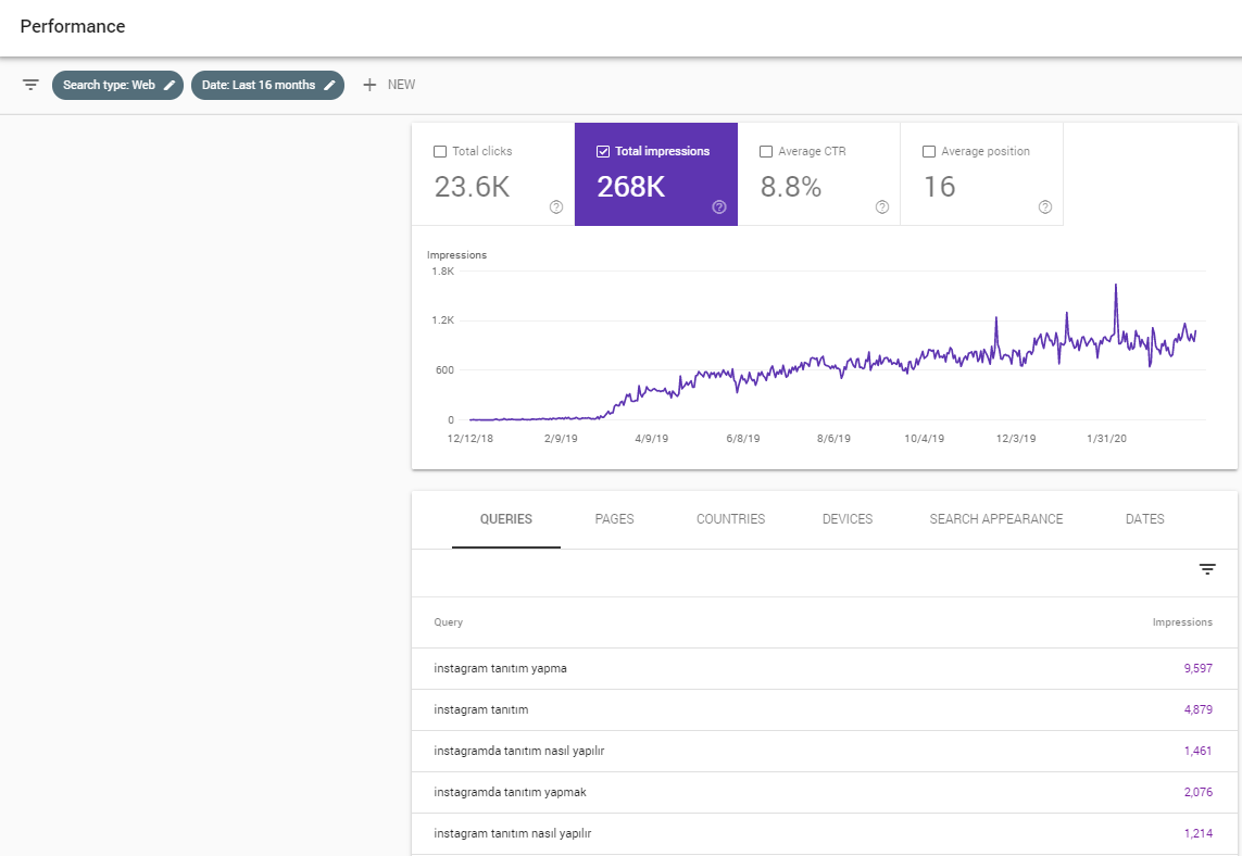 Google Search Console - Performance Tab