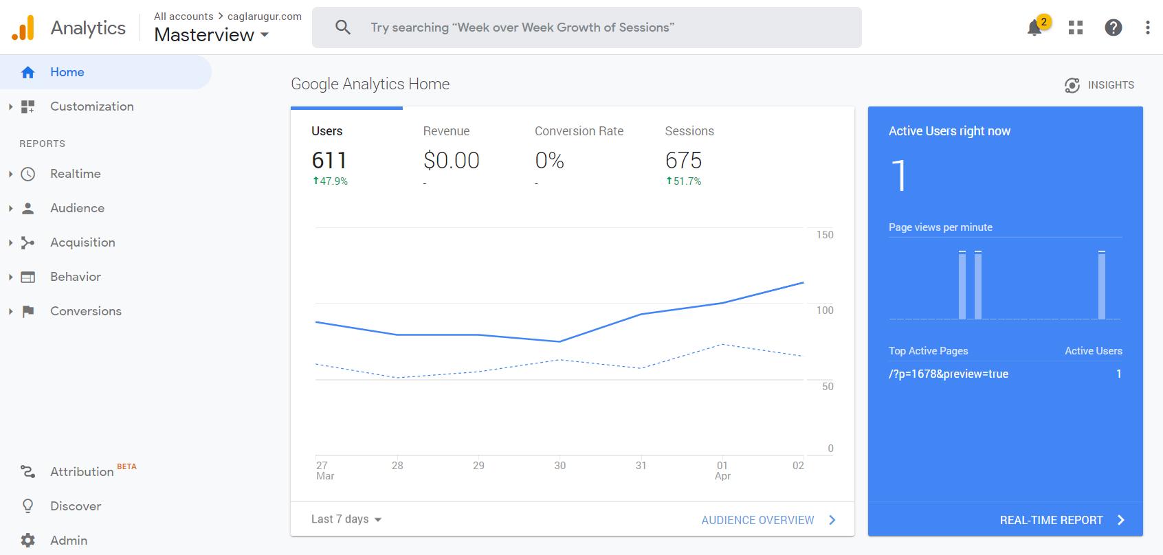 Google Analytics - caglarugur.com