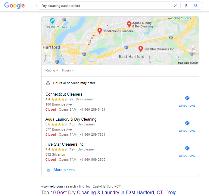 Local SEO - google search results example