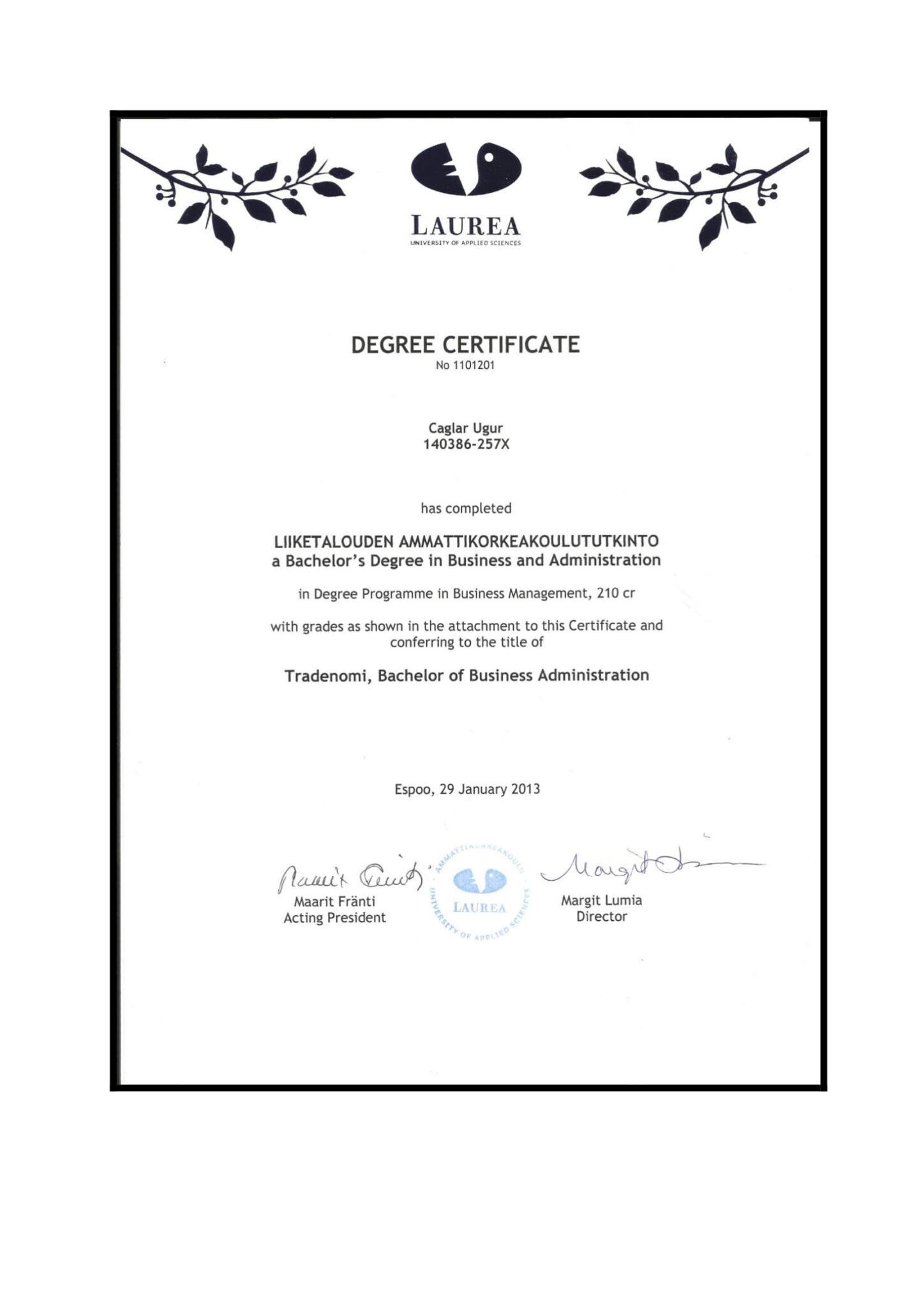 Çağlar Uğur Business Degree Laurea