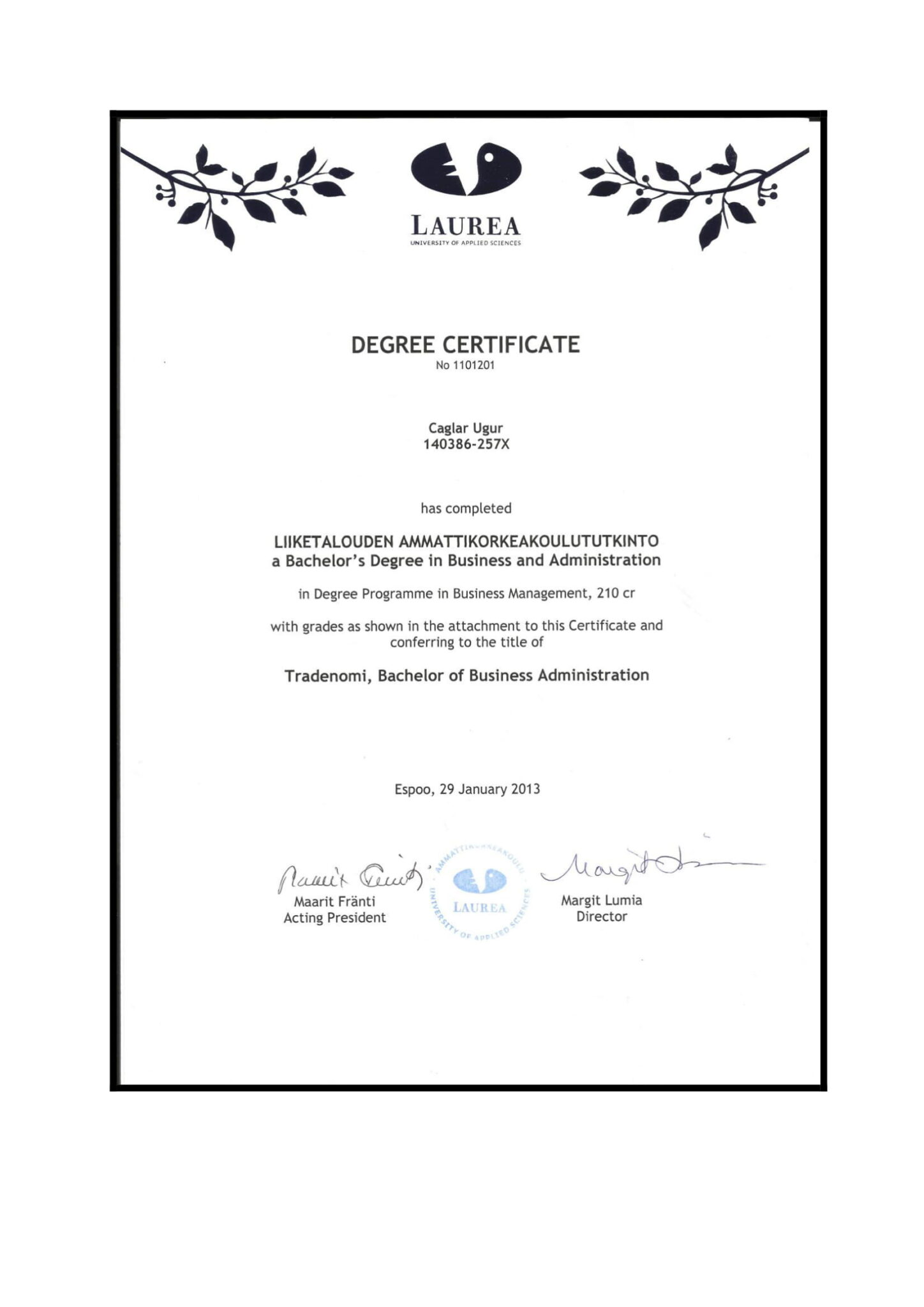 Çağlar Uğur Business Degree Laurea