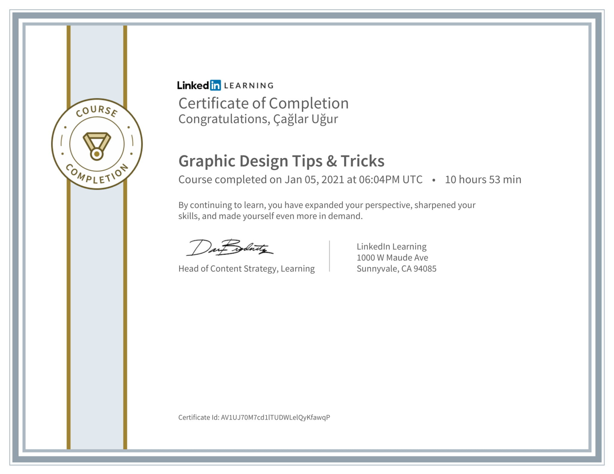 Linkedin JohnMcWade Graphic Design Certificate