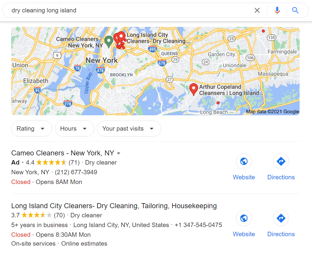 local search example on google