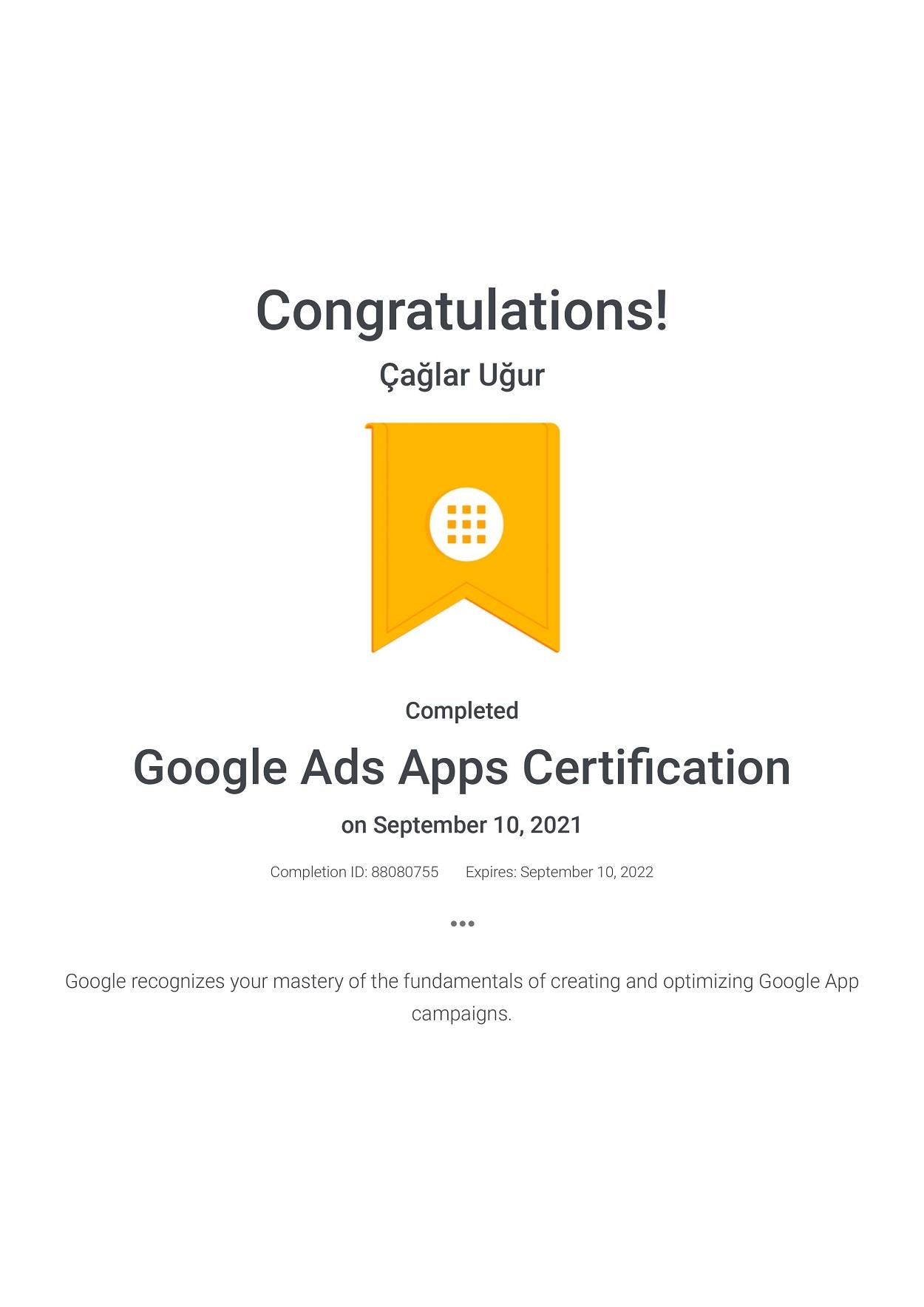 Google Ads Apps Certification - Çağlar Uğur